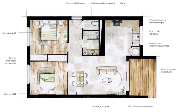 Appartements neufs Lespinasse référence 5057 : aperçu n°1