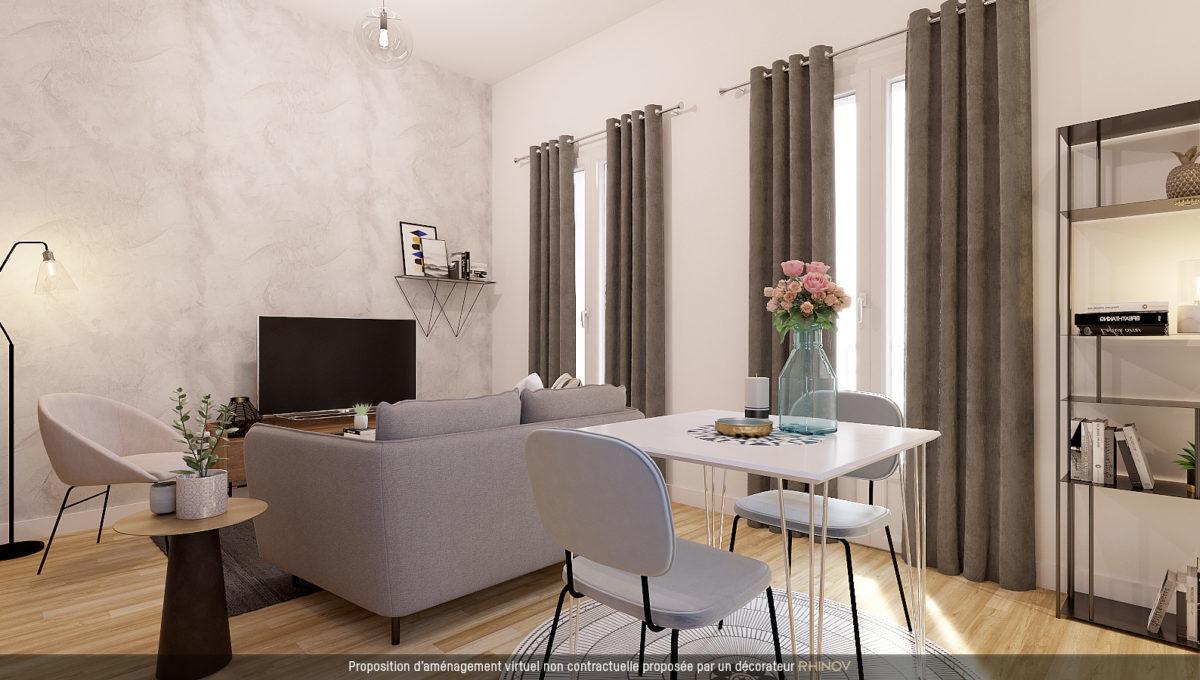 BSF Promotion - Visuel 3D d'un salon sans la résidence Péri à Toulouse