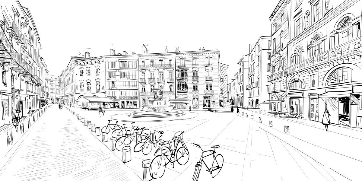 Dessine-moi Toulouse – Croquis en noir et blanc d'une place de la ville de Toulouse.