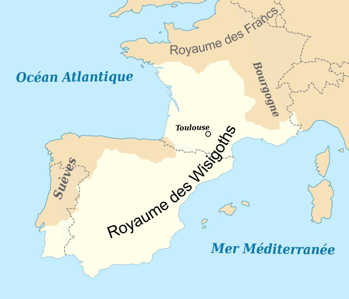 Histoire de Toulouse - Carte du royaume wisigoth