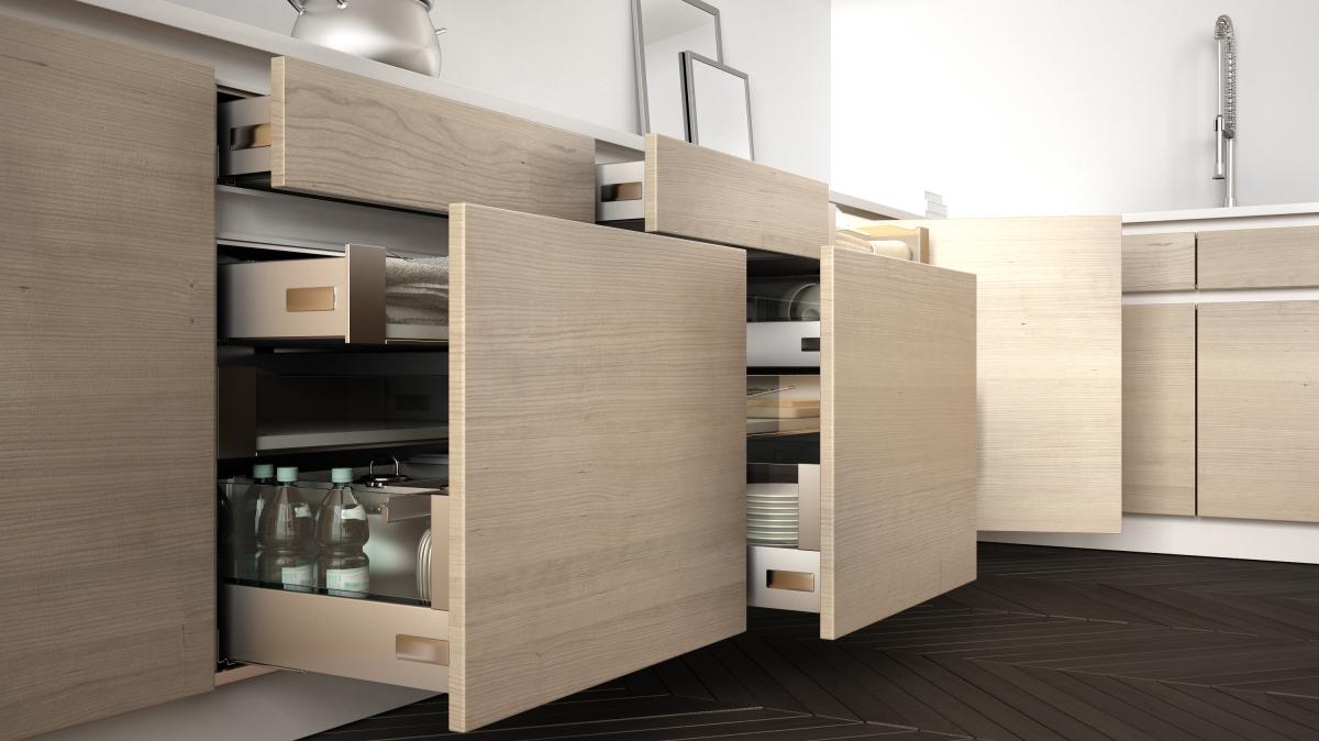 aménager un appartement neuf - vue de tiroirs roulants