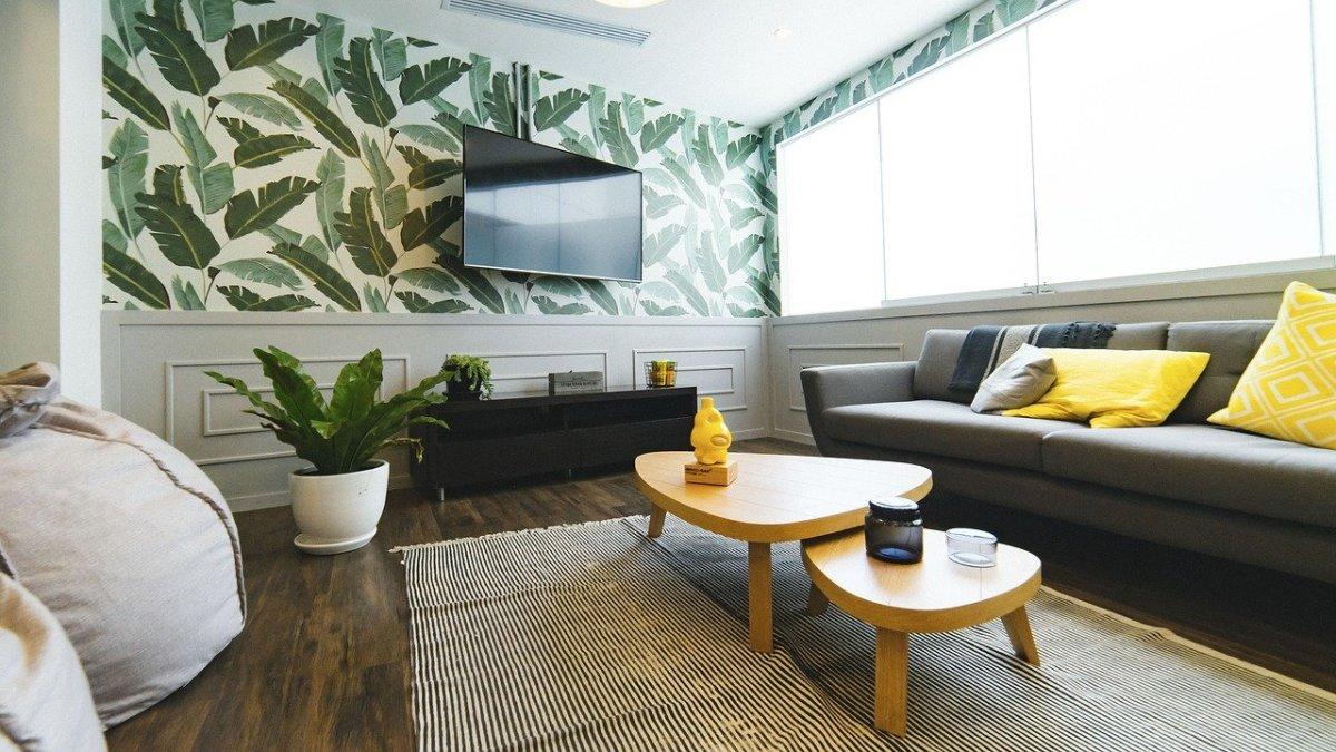 aménager un appartement neuf - vue d'un salon avec tapis et coussins colorés
