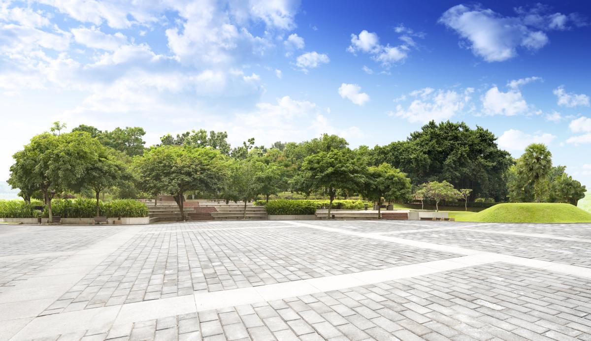 Enova – Rue pavée déserte dans un parc arboré
