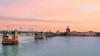 Vue de La Grave depuis la Garonne au coucher de soleil