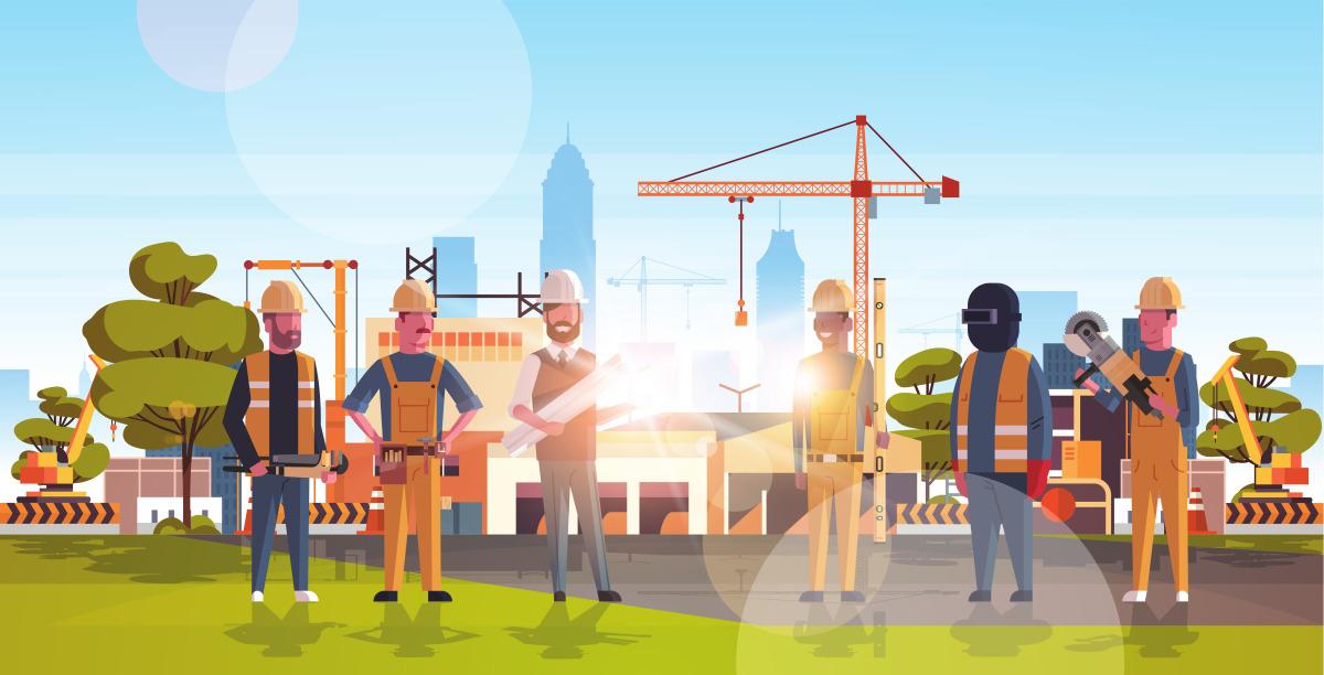 Dessin représentant un groupe d'ouvriers devant un quartier en plein chantier avec des grues et des pelles mécaniques
