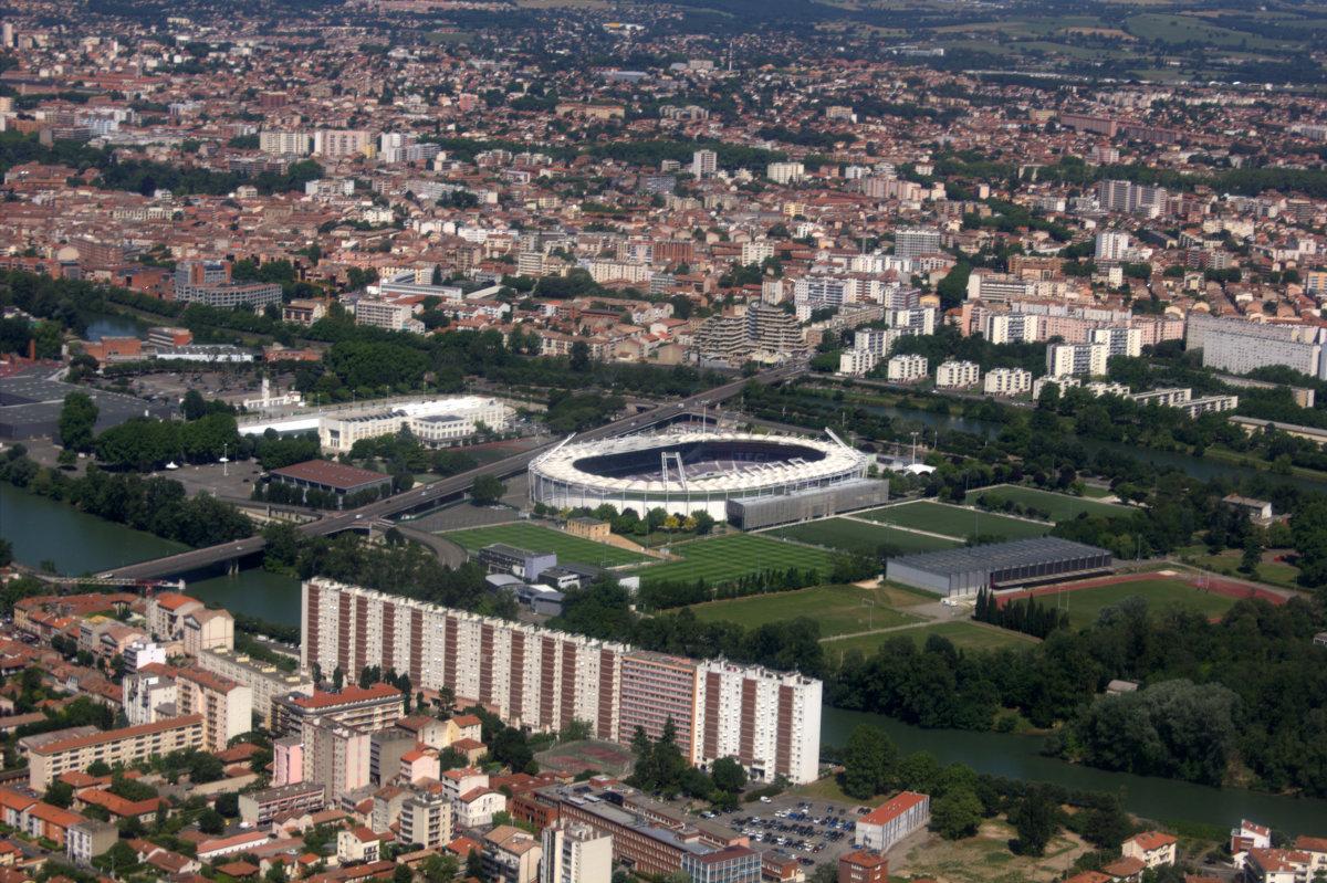 Métropolis Empalot - Vue aérienne de l'Île du Ramier et du Stadium